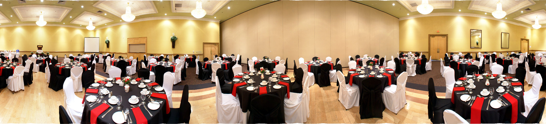 red and black corporate buffet dinner