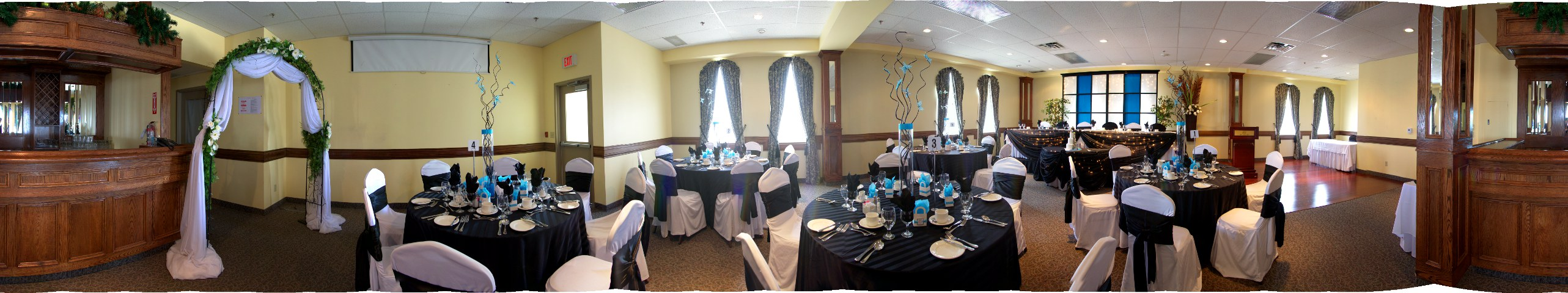 wedding reception dinner in restuarant with blue accents