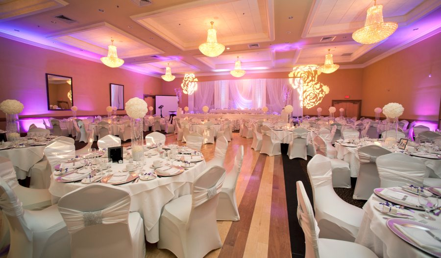 Hall decorated for wedding in pink