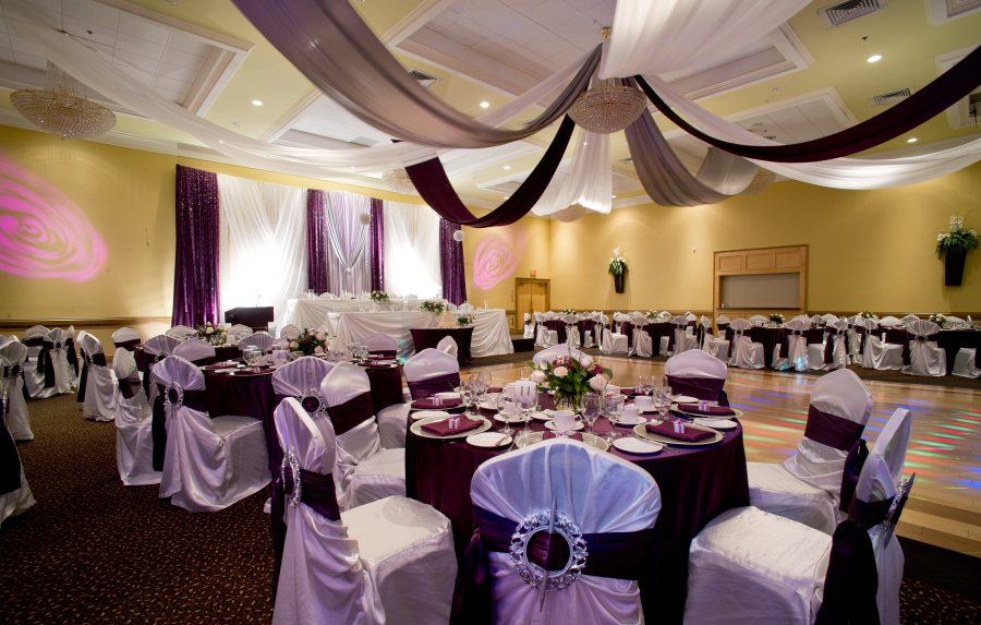 Hall decorated for wedding in purple